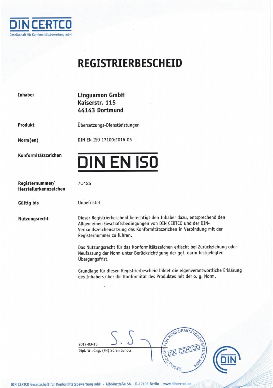 DIN CERTCO Registerbescheid