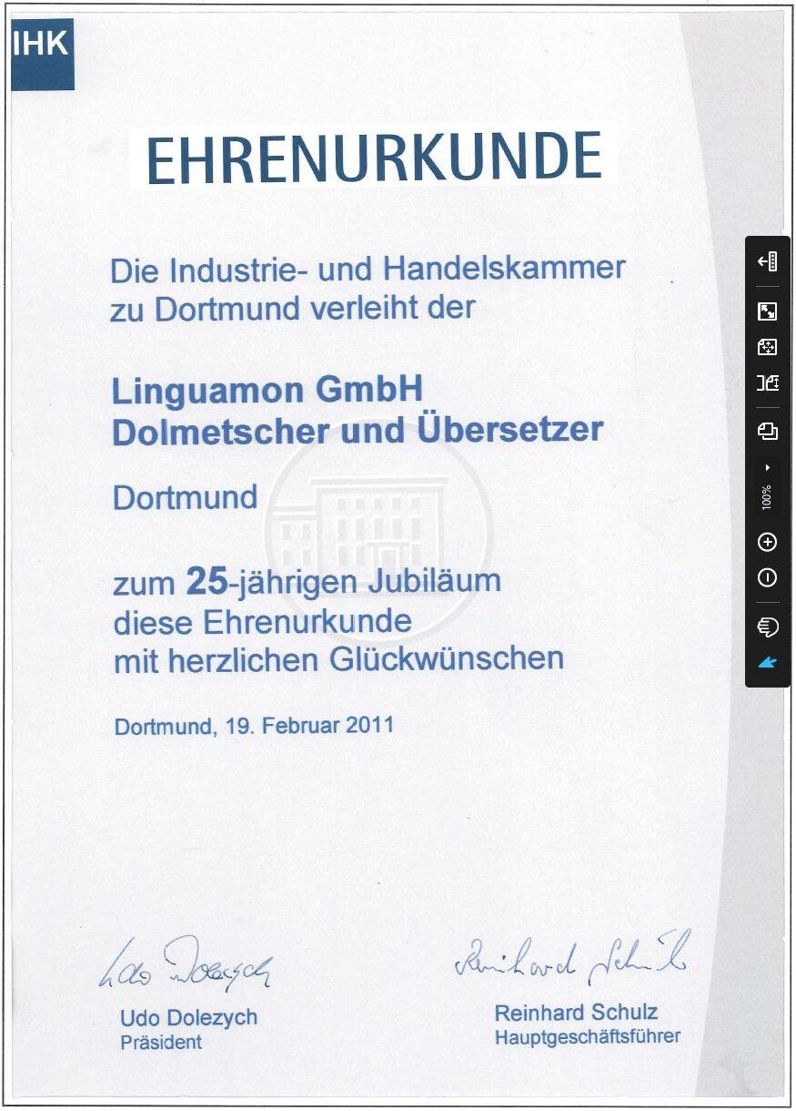 IHK Ehrenurkunde für Linguamon GmbH